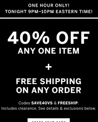 Victoria's Secret Is Having For 1 Hour 40% Off One Item And ... Deals During Bath Body Works Semiannual Sale Victorias Secret Coupons Shopping Promo Codes Free Coupon Codes For Victorias Secret Pink Victoria Secret Coupon Code For Free Shipping On 50 Victora Black Friday Kmart Deals The Sexiest Bras Panties Lingerie Hot Only 40 Regular 100 Pink Fleece Android Apk Download Up To Off Coupon Code 20 Free Panty 10 Off At Krazy Shop Clearance