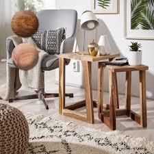 finebuy 2er set beistelltisch massivholz design wohnzimmer tisch eckig nachttisch satztisch landhaus stil naturprodukt