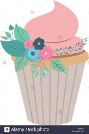 hand drawing color cupcake with pink buttercream and ornament plants decorative
