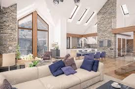 3d rendering wohnzimmer küche und esszimmer sind in einem bereich chalet kombiniert der innenraum ist mit holz und natürlichen materialien