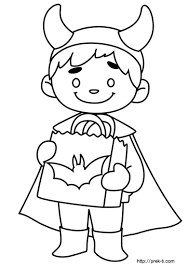 Boy In Monster Halloween Costume Coloring Picture