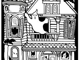 Detail Of Haunted House Coloring Pages Printables
