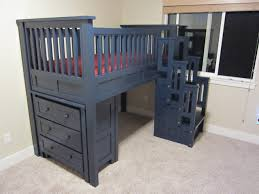 Low Loft Bed With Desk Plans by Bedroom Cool Wooden Bunk Beds With Stairs In Blue Before The