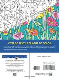 Amazon Creative Haven Textile Designs Coloring Book Adult 9780486803081 Marjorie Sarnat Books