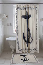 Black and White Anchor Shower Curtain by ThomasPaul