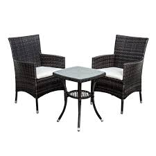 Amazon Uk Patio Chair Cushions by Christow Black Rattan Table U0026 Chairs Garden Patio Furniture Set