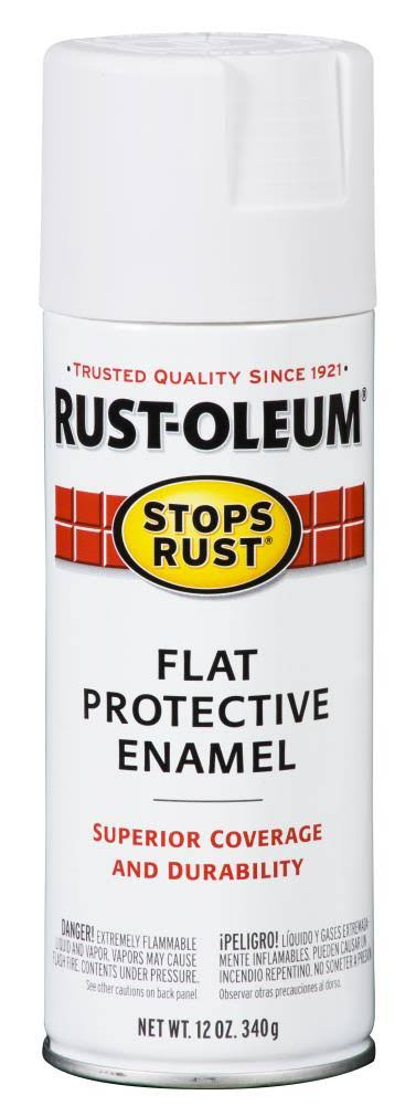 Rust-Oleum Stops Rust Flat Protective Enamel Spray - White, 12oz