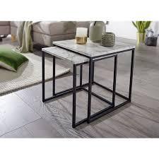 wohnling beistelltisch 2er set marmor optik weiß couchtisch 2 teilig tischgestell schwarz kleine wohnzimmertische modern