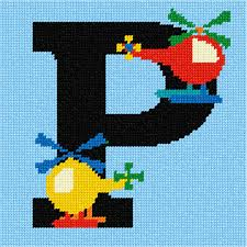 Needlepoint Canvas Letter P Helicopter