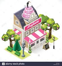 Pastry Shop City Building 3D Isometric Small Pastry Shop 3D Isometric Tint Illustration Bakery with Big Wedding Cake at the top