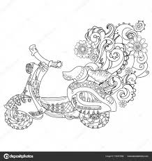 Motor Scooter Doodle In Nice Sixties StyleHand Drawn DoodleVector Zen Art IllustrationFloral OrnamentSketch For Tattoo Or Adult Coloring Pages