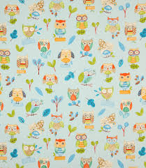 Ollie Owl Fabric in Watercolour Just Fabrics