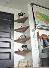optimum use of space through corner shelf room decoration