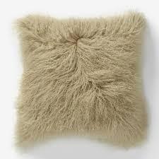 Mongolian Lamb Pillow Cover Pebble Square