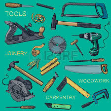 Collection Of Hand Drawn Carpentry Woodworker Joinery Icons Craft Woodwork Screwdriver Table Hamme