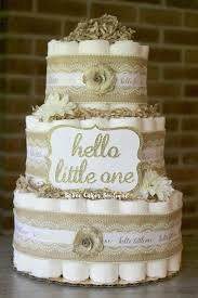3 Tier Hello Little One Diaper Cake Shabby Chic Burlap Gold Lace White Gender Neutral Cottage Baby Shower Rustic Decor Centerpiece