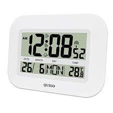 quigo digitale wanduhr funk groß tischuhr mit temperaturanzeige alarm laut wecker batteriebetrieben radio wohnzimmer büro küche weiß