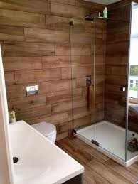 wood tile accent wall bathroom buildmuscle