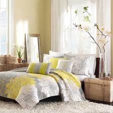 Beautiful Yellow Grey Bedroom Decor On