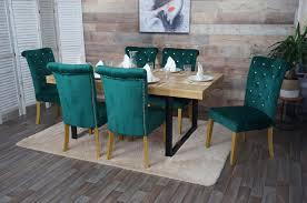 6x esszimmerstuhl hwc d22 stuhl küchenstuhl nieten samt dunkelgrün goldfarbene beine