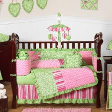 Olivia Girls Boutique Pink and Green Baby Bedding 11pc Crib Set
