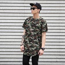 2017 Summer Extended Curved Hem T Shirt Men Urban Kpop Camouflage Longline Hip Hop