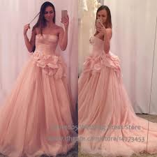 strapless pink wedding dress tulle blush princess ball gown plus