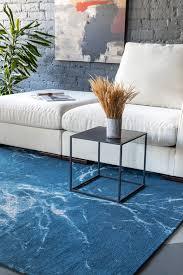 briny blue fleckenbeständiger teppich weiß blau modern schlafzimmer wohnzimmer esa home