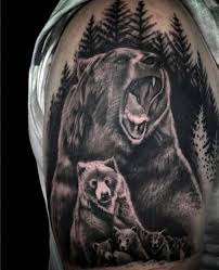 Most Amazing Mother Bear And Her Baby Forest Tattoo Design