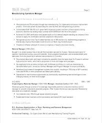 Construction Operation Manager Resume Manufacturing Sample 2 Operations
