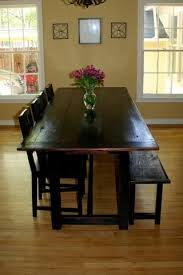 Black Distressed Tavern Style Table With Bench Traditional Dining Room