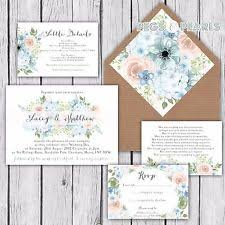 Personalised Luxury Rustic Wedding Invitations BLUE PINK HYDRANGEA Packs Of 10