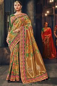 Beautiful Gold Banarasi Silk Fabric Designer Wear Bride Style Traditional Fashion Floral Designing Embroidery Work Saree