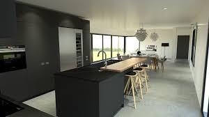 cuisine ilot cuisine industriel design gris ilot