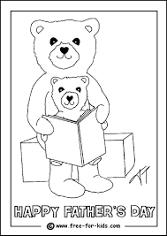 Colouring Page Of A Father And Child Reading Book