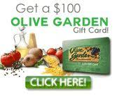 Olive Garden $100 GiftCard Enjoy a delicious dinner with $100