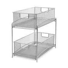 Bed Bath And Beyond Bathroom Shelves by Two Tier Sliding Basket Organizer Bedbathandbeyond Com For