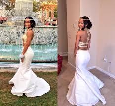 white gold 2017 mermaid prom dresses high neck crystal beaded