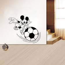 Mickey Mouse Playing Football 3D Effect Wall Paper Decorating Kids Bedroom Preschool Stick Figure Export