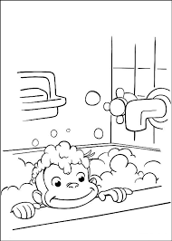 Curious George Shower Coloring Pages Free Printable