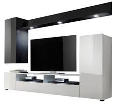 trendteam ds94502 wohnwand anbauwand wohnzimmerschrank schwarz weiß nachbildung und front in schwarz weiß hochglanz