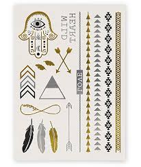 Rad Tatz Metallic Feathers Hamsa Hand Temporary Tattoos