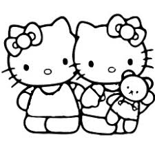 Hello Kitty With Baby Doll Coloring Pages To Print