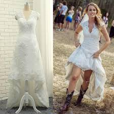 cheap high low country lace wedding dresses 2017 v neck cap