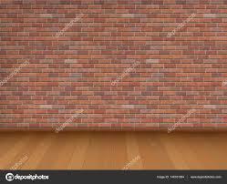 Pared de ladrillo rojo y piso de madera — Vector de stock