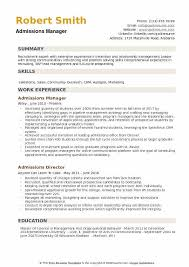 Admissions Manager Resume Example
