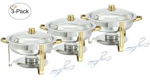 Chafing Dish Buffet Set Tiger Chef 3 Pack 4 Quart Round Warmer Gold Accented Aluminum
