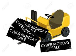 100 Powered Industrial Truck Forklift Loading Cyber Monday Deal Card For
