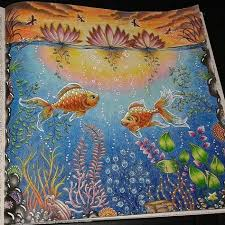 INSPIRATIONS Daybreak Or Sunset Fish In Pond From Secret Garden By Johanna Basford Colored Colorindolivrostop