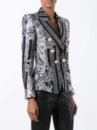 balmain coat melania trump grey and black cotton blend double